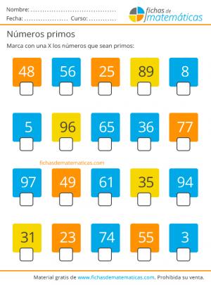 números primos para imprimir