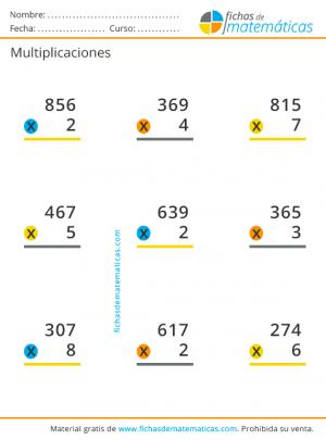 multiplicaciones de una cifra
