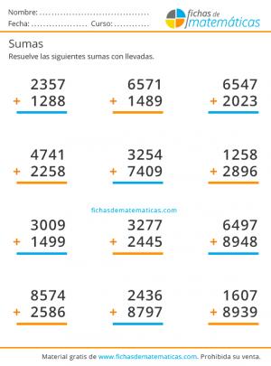 sumas de cuatro cifras