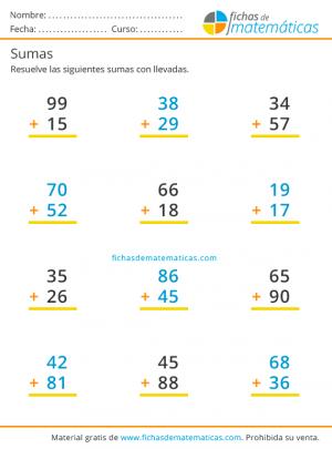 sumas de dos cifras