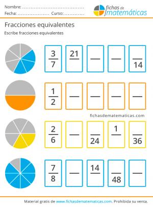 ejemplos de fracciones ejercicio