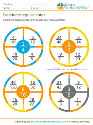 ejercicios de fracciones equivalentes