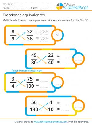 ejercicios de fracciones equivalentes, productos cruzados