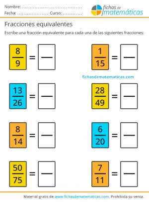 fracciones equivalentes para imprimir