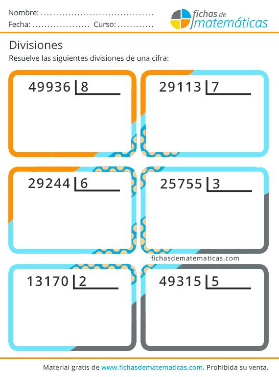 cuaderno de divisiones de una cifra