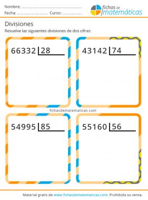 divisiones de dos cifras sin decimales