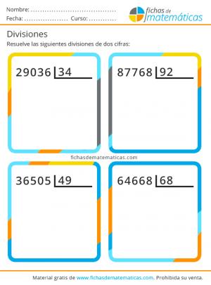 divisiones para imprimir de dos cifras