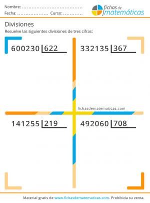 divisiones de tres números para niños gratis en pdf
