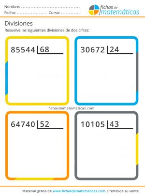 ejercicios de división de dos cifras
