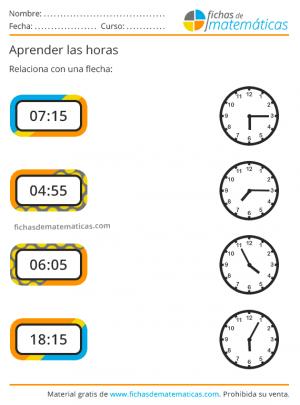 ejercicios de horas para imprimir