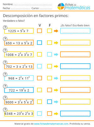 ejercicios para imprimir de potencias y primos