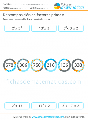 fichas de descomposición en números primos