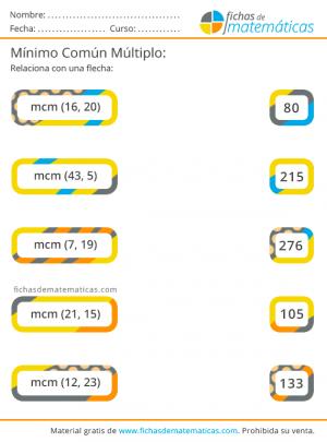 mcm ejercicios gratis de matemáticas