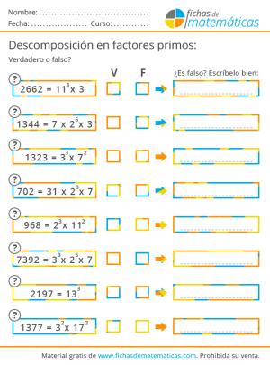 números primos y descomposición factorial