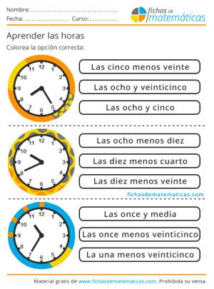 primaria las horas del reloj