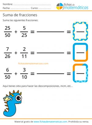 imprimir ejercicios con fracciones