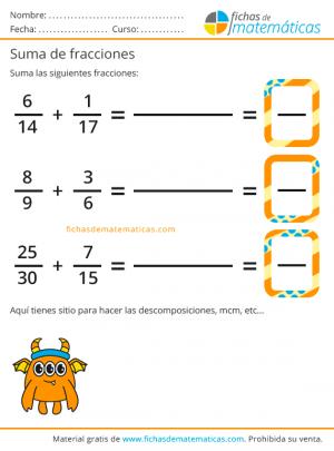 imprimir sumas de fracciones gratis