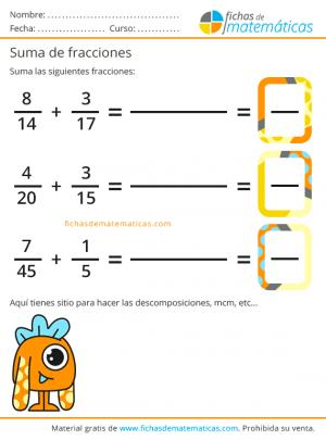 matemáticas y suma de fracciones