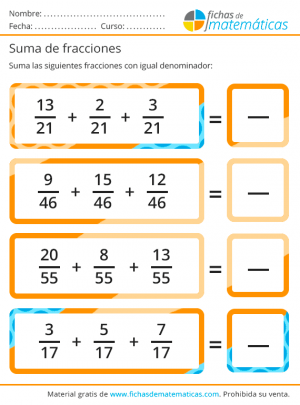 sumas fáciles ocn fracciones