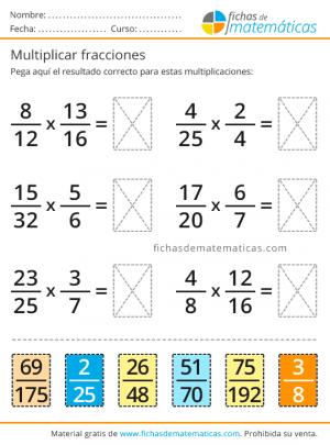 ejercicio recortable con fracciones