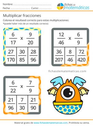 ejercicios de fracciones para aprender a multiplicar