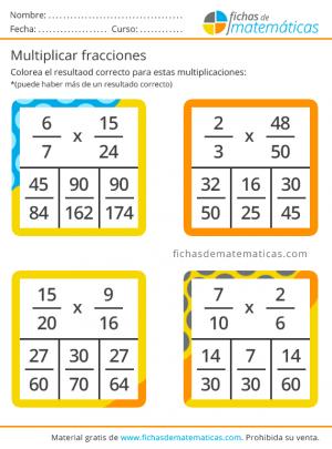 ejercicios de multiplicar fracciones