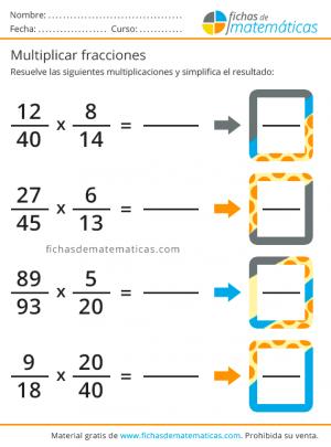 fichas gratis de fracciones para multiplicar