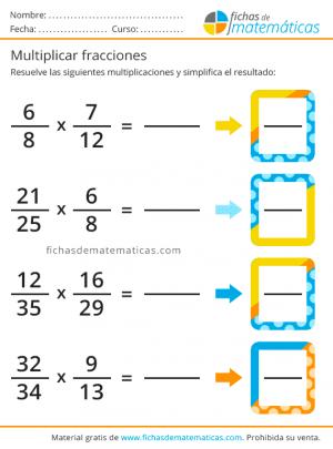 fichas para multiplicar fracciones