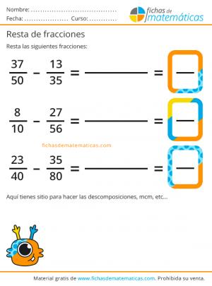ejercicios para imprimir de resta de fracciones
