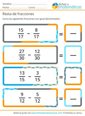 resta de fracciones de igual denominador