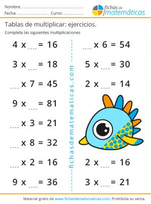 ejercicios para completar de multiplicaciones