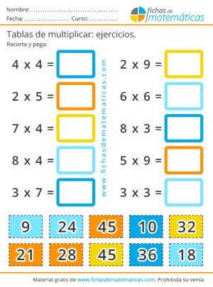 ejercicios de las tablas de multiplicar para recortar