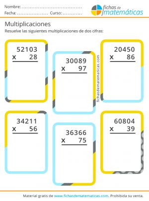 ejercicios de multiplicaciones de dos cifras