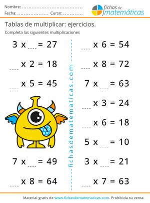 fichas de multiplicar tablas