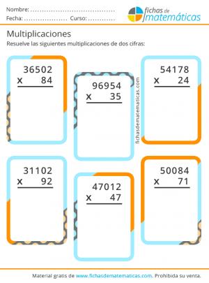 imprimir multiplicaciones de números de dos cifras