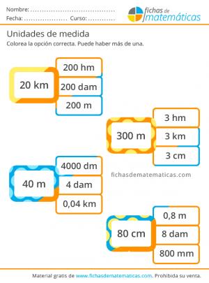 metros y kilómetros primaria