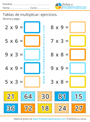 recortables de repaso de tablas de multiplicar