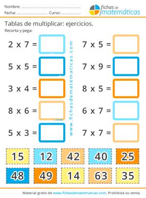 refuerzo de las tablas de multiplicar