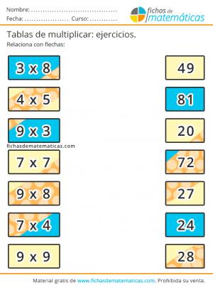 unir con flechas tablas de multiplicar