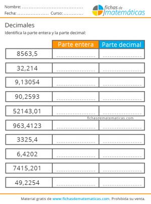 aprender decimales primaria