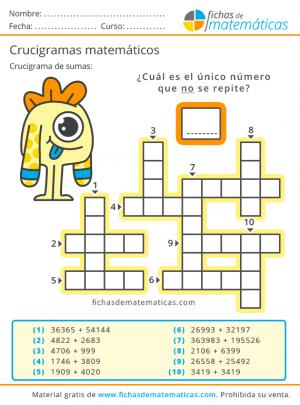 crucigramas de sumas para primaria