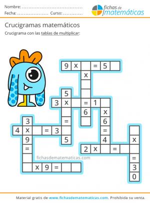 crucigrama tablas de multiplicar