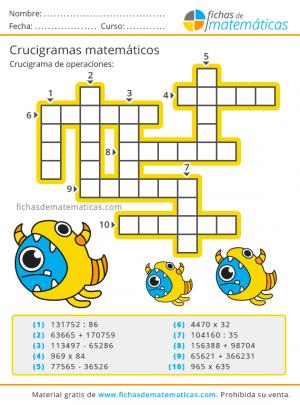 crucigramas de números para primaria