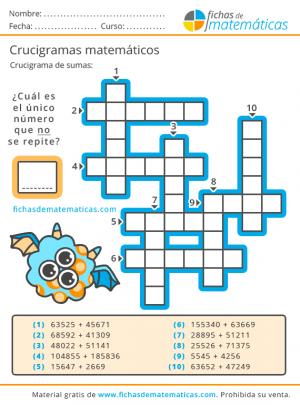 crucigrama de sumas