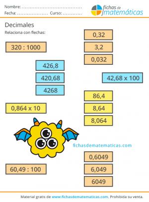 fichas de matemáticas decimales