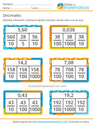 fracciones y decimales ejercicio
