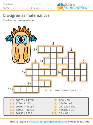 imprimir crucigramas matemáticos