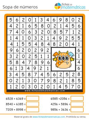 sopa de números con sumas