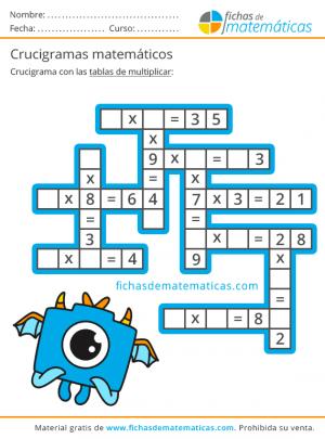 tablas de multiplicar crucigrama