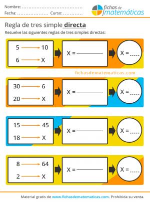 ejercicios con regla de tres
